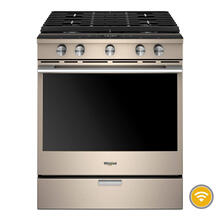 Whirlpool 5.8CF Smart Sunset Bronze Gas Slide In Convection Range with Self Clean