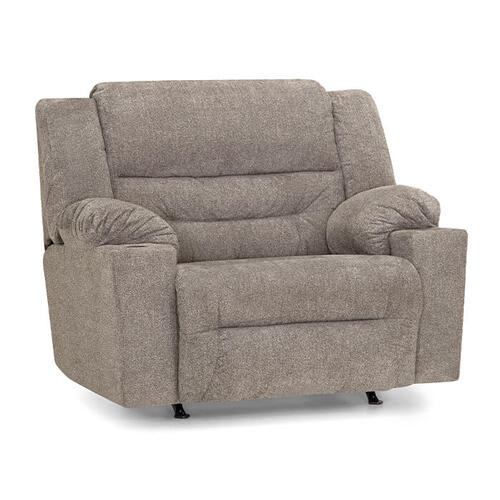 Master Rocker Recliner with Cupholder in Westwood Platinum Fabric