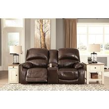 Ashley Power Reclining Loveseat with Console and Adjustable Headrest Hallstrung Chocolate