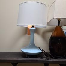 (L/STLA1177) Fangio Lighting's #8454 CB 30 in. Retro Saucer Ceramic Table Lamp in a Carolina Blue Finish