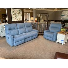 Kenley Denim Power Reclining Space Saver Sofa