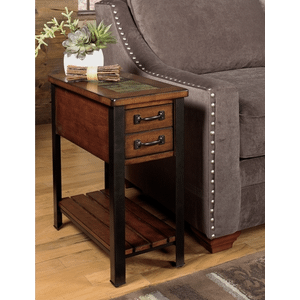 Null Furniture Inc - Cherry Slate Top Chairside Table w/Antique Bronze metal legs        (3013-07,52800)