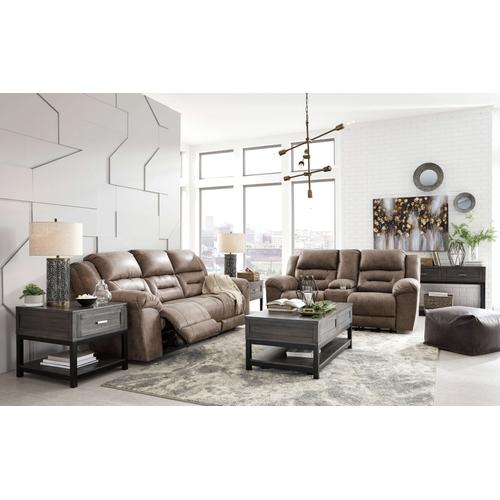 STONELAND - FOSSIL RECLINING SOFA & RECLINING LOVE SEAT W/ CONSOLE
