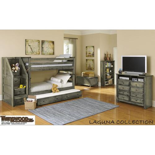 Laguna Twin/Twin Bunkbed with Stairway Chest Grey