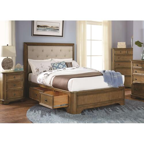 Whittier Wood - RGB Stonewood Queen Manor Upholstered Storage Bed Rustic Glazed Brown Finish