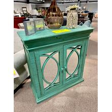 See Details - Hand Painted Teal Accent Cabinet