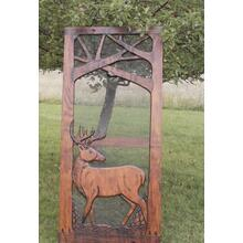 Handmade rustic wooden screen door featuring a buck.
