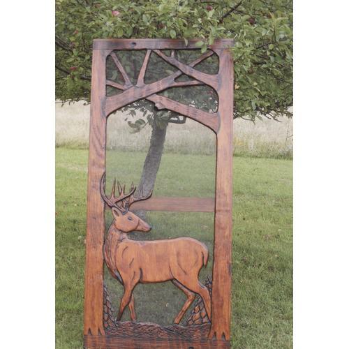 Handmade rustic wooden screen door featuring a buck.