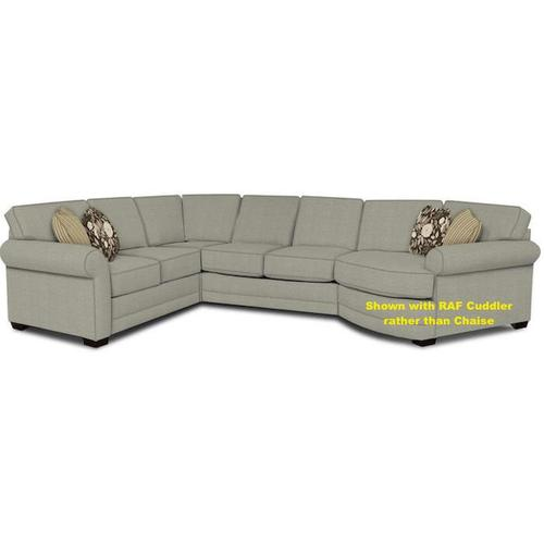 England Furniture - Brantley Chaise Sectional - Body 6614 LEXIE LINEN, 2 20 Inch Inner Pillows 6802 ASHAI STORM, 2 20 Inch Outer Pillows 6837 LEIGHTON STORM