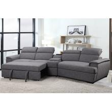 Milford 3 Pc Modern Grey Sectional Media Sleeper by Primo International, Model Milford