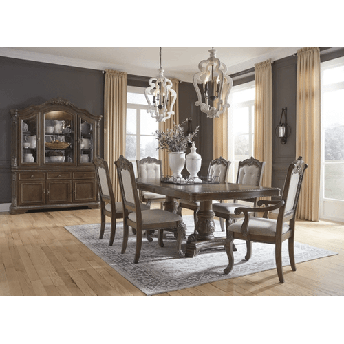 Charmond - Brown - 7 Pc. - Rectangular Extension Table, 4 Upholstered Side Chairs & 2 Upholstered Arm Chairs