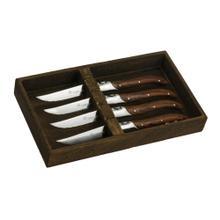 Legnoart Stainless Steel Fassona 4-Piece Steak Knife Set with Pakka Wood Handle in Wooder Crate