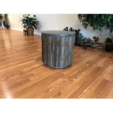 Wood With Stone Top Round Storage End Table
