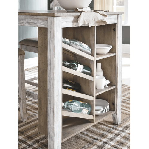 Skempton - White/Light Brown - 5 Pc. - Rectangular Counter Table with Storage & 4 Upholstered Stools