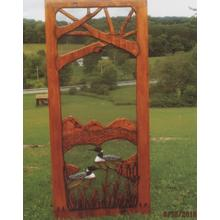Handmade rustic wooden screen door featuring loons.