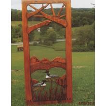 See Details - Handmade rustic wooden screen door featuring loons.
