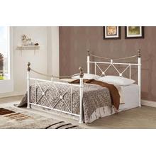 Gorgeous White two tone Metal Bed (Full)
