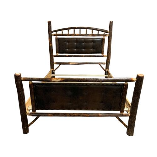 Queen Amish Hickory Upholstered Bed