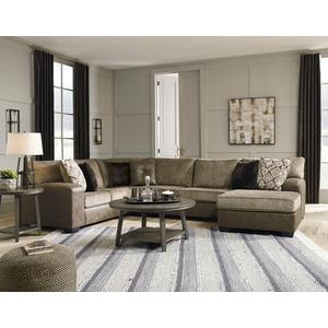 Ashley Abalone Sectional in Chocolate . 100% Polyester . CC:  W