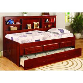 Twin bookcase Daybed with 3-Drawer Elevation Storage/Trundle Unit.