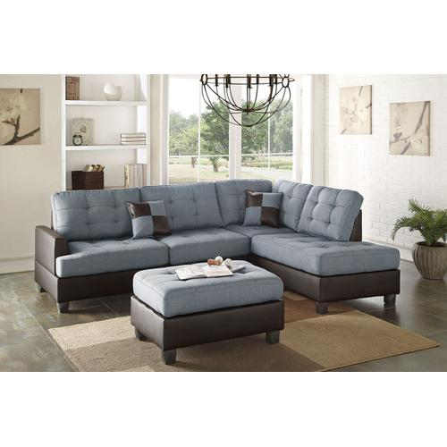 Grey Fabric Reversible Chaise Sectional with Ottoman Included