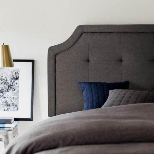 Malouf - TWIN SCOOPED SQUARE TUFTED UPHOLSTERED HEADBOARD CHARCOAL