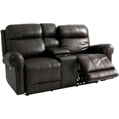 Everest Motion Loveseat w/ Power & Console in Nutmeg