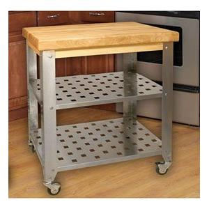 Stainless Steel Kitchen Island Cart w/Butcher Block Top