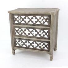 Mirrored Dicut Gray Cabinet