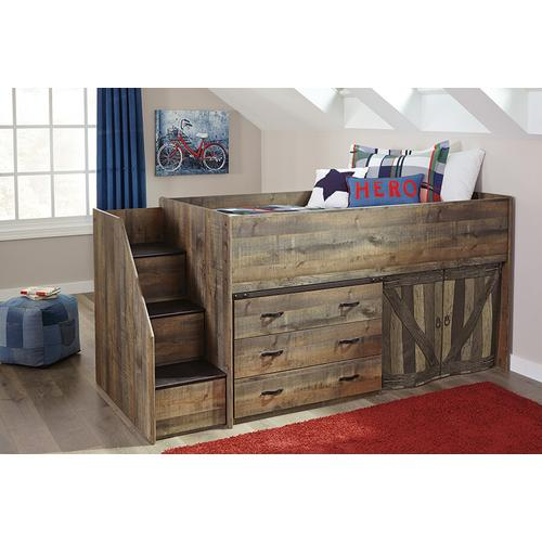 Trinell Twin Loft Bed with Steps and Storage