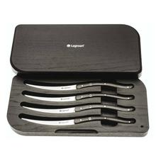 Legnoart Wagyu 4 Piece Steak Knife Set with Dark wood Handle in Luxury solid Wooden Box