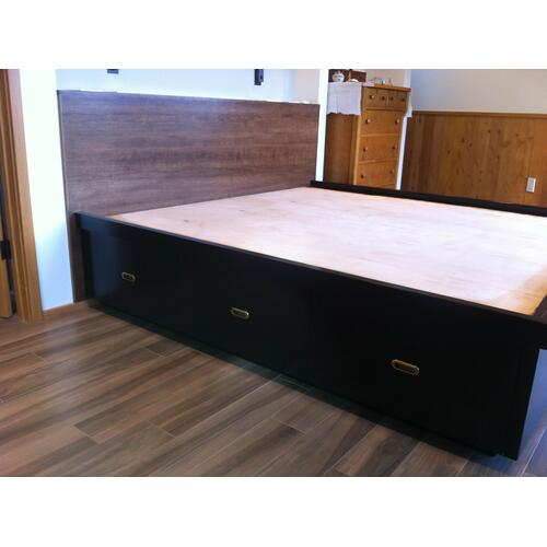 Shaker Custom Floating Platform Bed with Storage in Cherry Wood with Tint Coat Finish