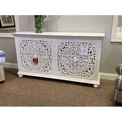 White Carved Detail Console Cabinet