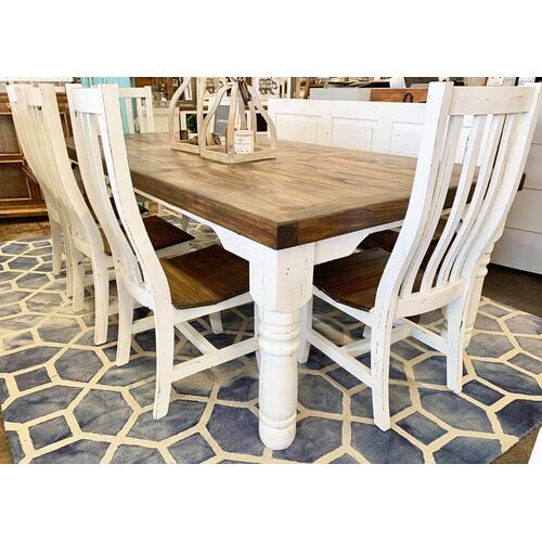 6 FT WHITE DISTRESSED DINING TABLE