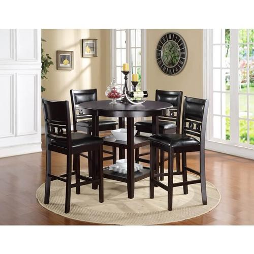 New Classic Furniture - Round Counter Height Dinette - 5-Piece Ebony