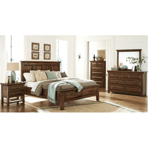 Warehouse M - Hillcrest 4PC or 5PC  Queen Storage bed Bedroom Collection      (4PC Includes Bed, Chest, Mirror, N.Stand) or (5 PC also Includes Chest)    (WARE-203-**)