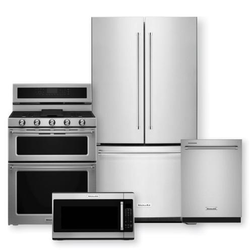 KITCHENAID 20 Cu. Ft. Counter-Depth French Door Refrigerator & 30-Inch 5 Burner Dual Fuel Double Oven Convection Range Package