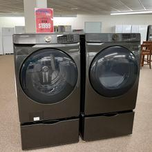 Samsung Black Stainless Steel Laundry Pair with Pedestals