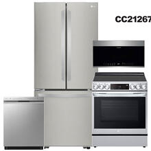 See Details - Stainless Steel 22 cu. ft. French Door Refrigerator & 6.3 cu ft. Smart Electric Slide-In Range with Air Fry- 4 Pc Package