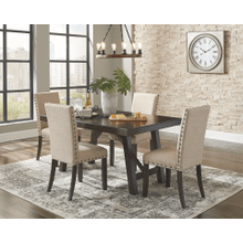 Rokane - Brown - 5 Pc. - Rectangular Extension Table & 4 Upholstered Side Chairs