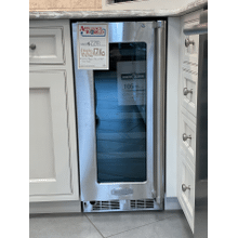 "Marvel Professional 15"" High Efficiency Single Zone Wine Refrigerator - Stainless Frame, Glass Door With Lock - Integrated Left Hinge, Professional Handle"