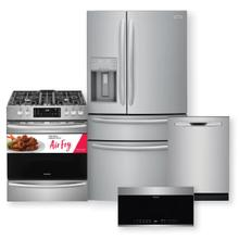 FRIGIDAIRE GALLERY 21.8 Cu. Ft. Counter-Depth 4-Door French Door Refrigerator & Gas Range w/ Air Fry Package