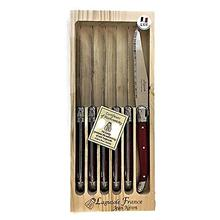 Neron Coutellerie Laguiole 6-Piece Set Steak Knives with Red Plated Handle in Wooden Box by Jean Neron