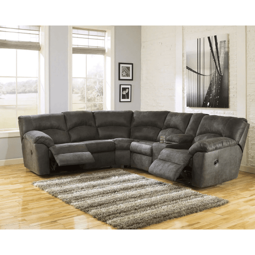 Tambo - Pewter - 2 Recliner Sectional with Right Facing Console