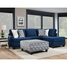 ALBANY 8642-61-67-27-32 4PG  4-Piece Groovy Navy Sectional Sofa, Swivel Chair & Ottoman Group