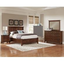 King Cherry 4 PC Bedroom Set - Panel Bed with Storage Footboard