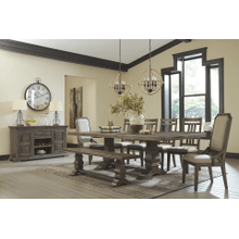 Wyndahl - Rustic Brown - 8 Pc.  Rectangular Extension Table, 6 Upholsterd Side Chairs, 2 Semi-Arm Chairs, & Bench