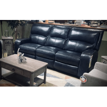 CONTEMPORARY LEATHER/VINYL POWER RECLINING SOFA in Dark Blue WITH USB PORTS AND POWER HEADREST    (WARE-L5168-3-4032,40110)