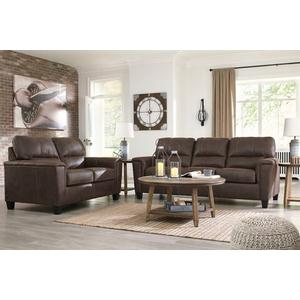 "Ashley Navi Sofa & Loveseat in Chestnut.  Sofa 39"" x 89"" x 38"" . Loveseat 39"" x 61"" x38"" ."
