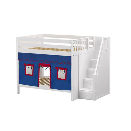 High Bunk Bed with Staircase on End & Underbed Curtains In White Finish